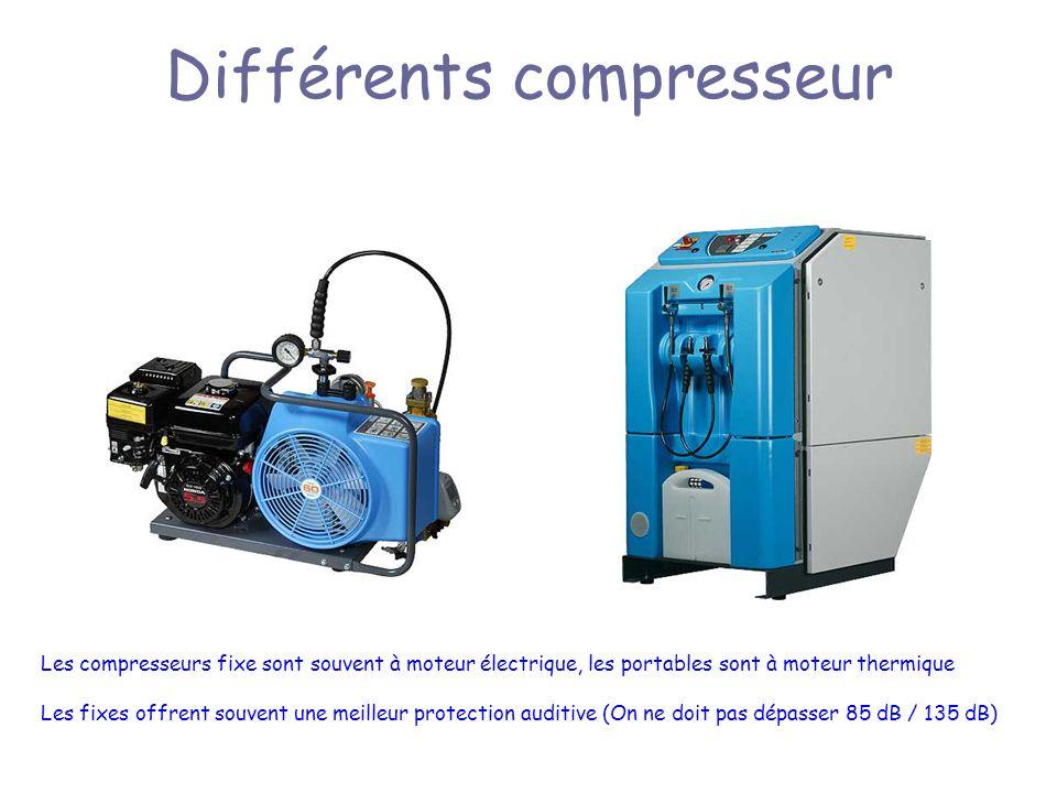 Différents compresseur Les compresseurs fixe sont souvent à moteur électrique, les portables sont à moteur thermique Les fixes offrent souvent une meilleur protection auditive (On ne doit pas dépasser 85 dB / 135 dB)