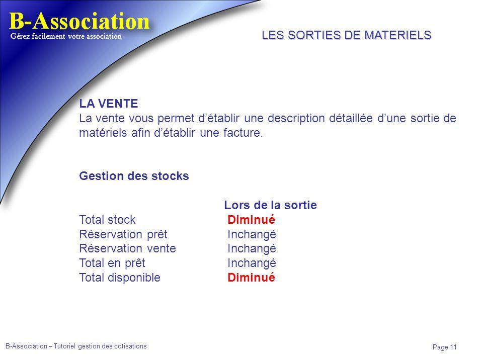 B-Association – Tutoriel gestion des cotisations Page 11 Gérez facilement votre association LA VENTE La vente vous permet détablir une description dét