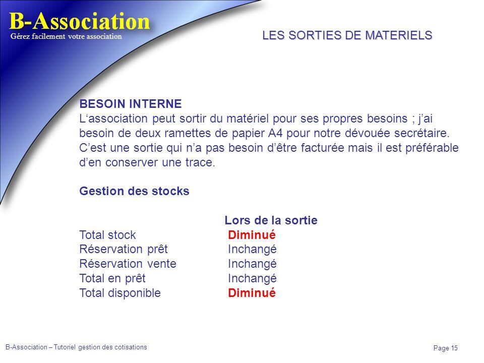 B-Association – Tutoriel gestion des cotisations Page 15 Gérez facilement votre association BESOIN INTERNE Lassociation peut sortir du matériel pour s