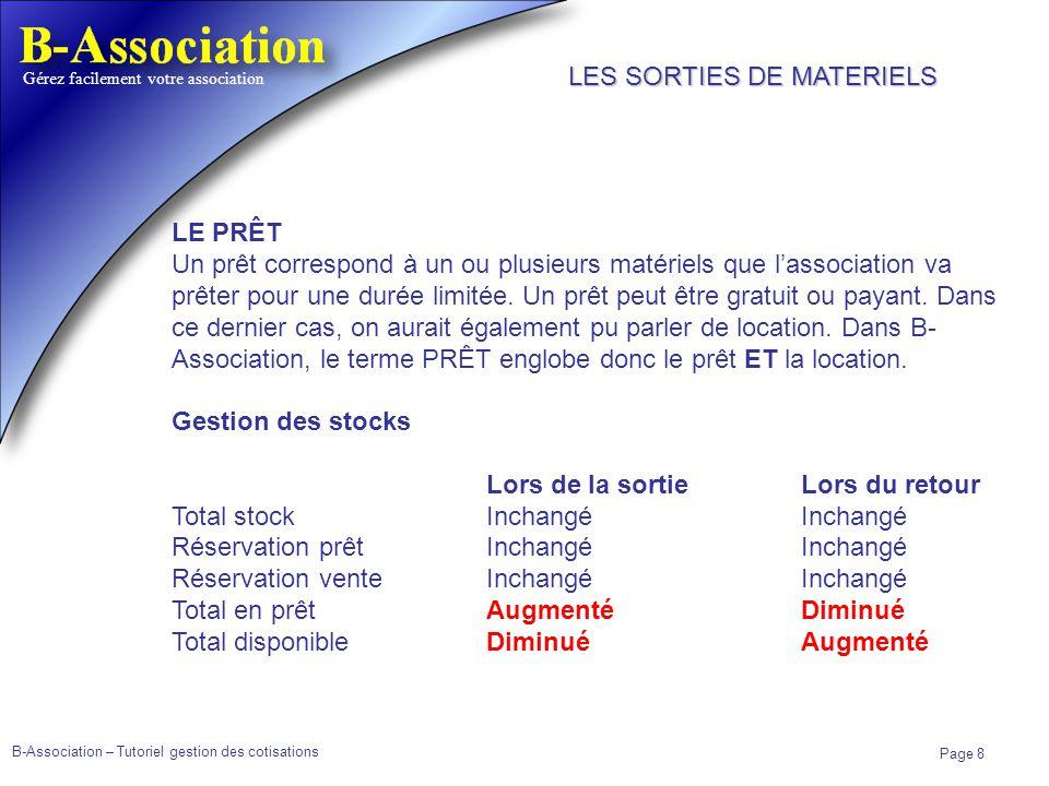 B-Association – Tutoriel gestion des cotisations Page 8 Gérez facilement votre association LE PRÊT Un prêt correspond à un ou plusieurs matériels que