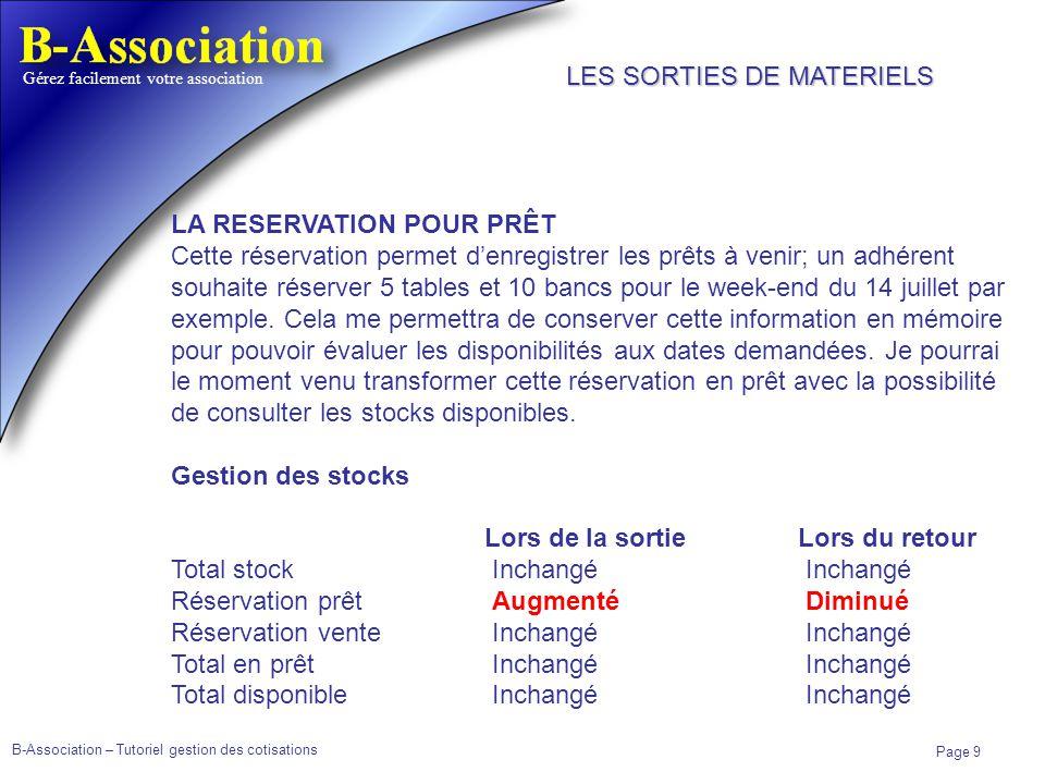 B-Association – Tutoriel gestion des cotisations Page 9 Gérez facilement votre association LA RESERVATION POUR PRÊT Cette réservation permet denregist