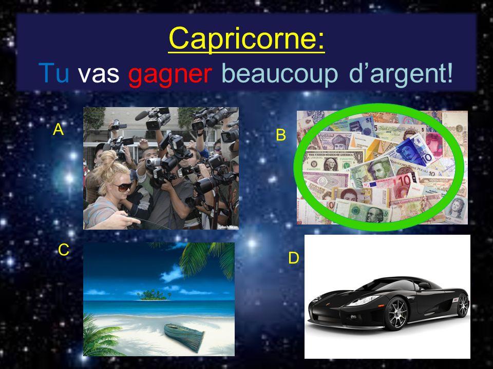 Capricorne: Tu vas gagner beaucoup dargent! A B C D