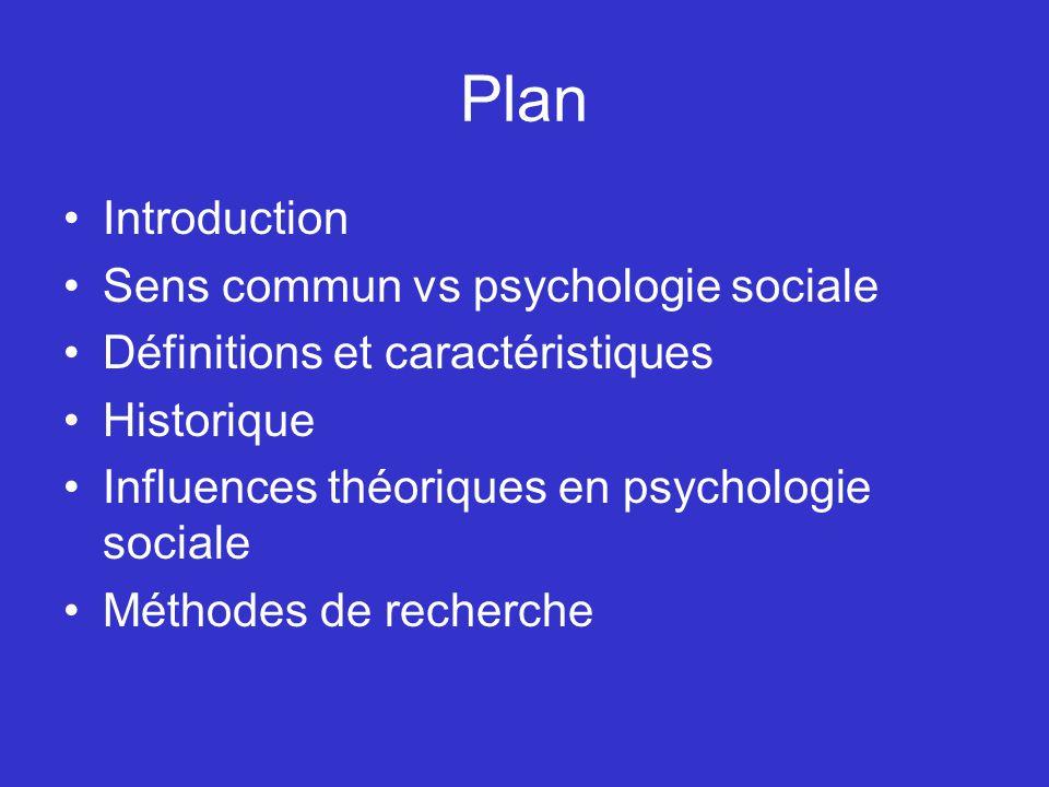 Plan Introduction Sens commun vs psychologie sociale Définitions et caractéristiques Historique Influences théoriques en psychologie sociale Méthodes