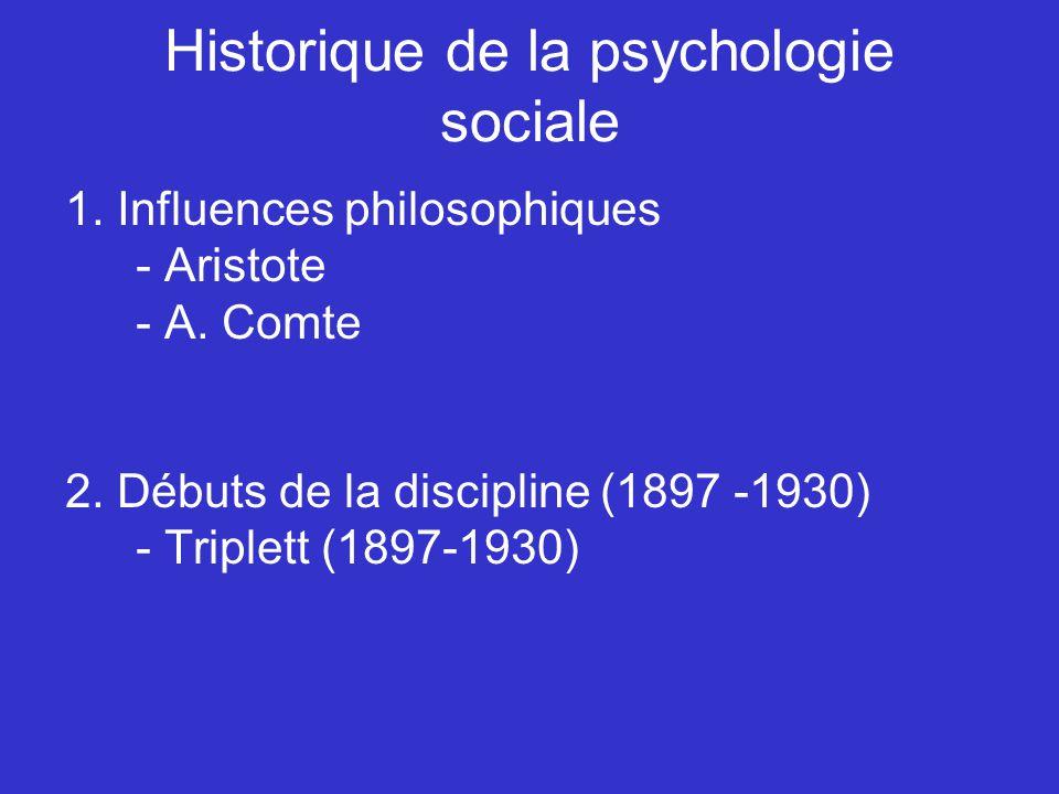 Historique de la psychologie sociale 1. Influences philosophiques - Aristote - A. Comte 2. Débuts de la discipline (1897 -1930) - Triplett (1897-1930)