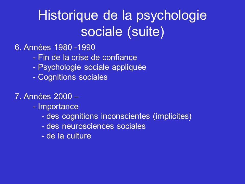 Historique de la psychologie sociale (suite) 6. Années 1980 -1990 - Fin de la crise de confiance - Psychologie sociale appliquée - Cognitions sociales
