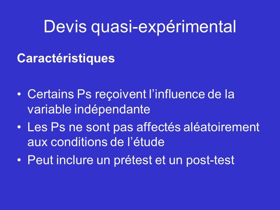 Devis quasi-expérimental Caractéristiques Certains Ps reçoivent linfluence de la variable indépendante Les Ps ne sont pas affectés aléatoirement aux c