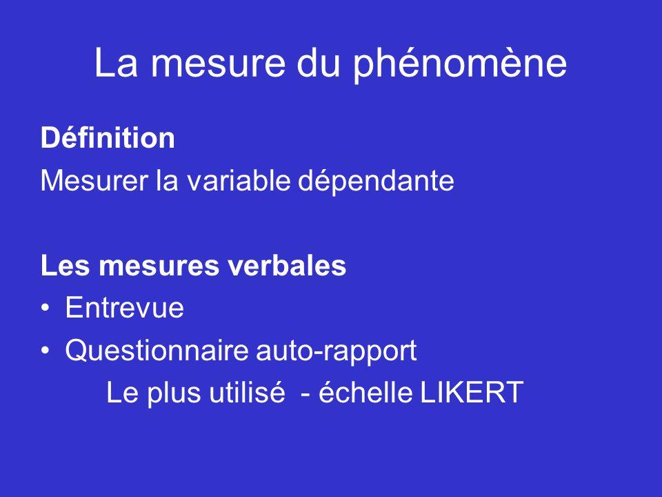 La mesure du phénomène Définition Mesurer la variable dépendante Les mesures verbales Entrevue Questionnaire auto-rapport Le plus utilisé - échelle LI