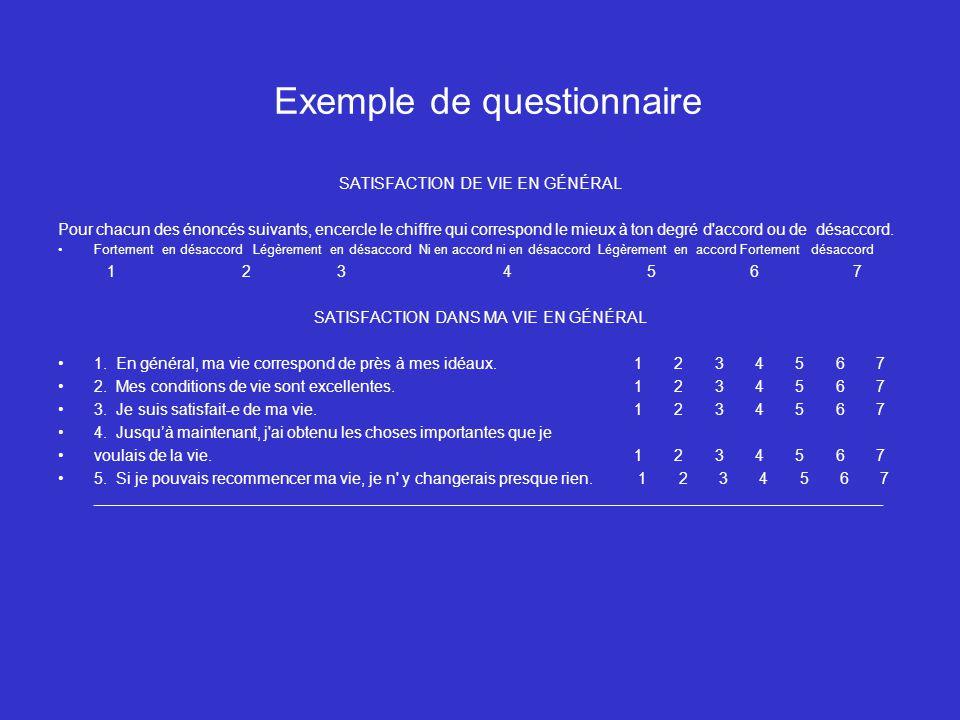 Exemple de questionnaire SATISFACTION DE VIE EN GÉNÉRAL Pour chacun des énoncés suivants, encercle le chiffre qui correspond le mieux à ton degré d'ac