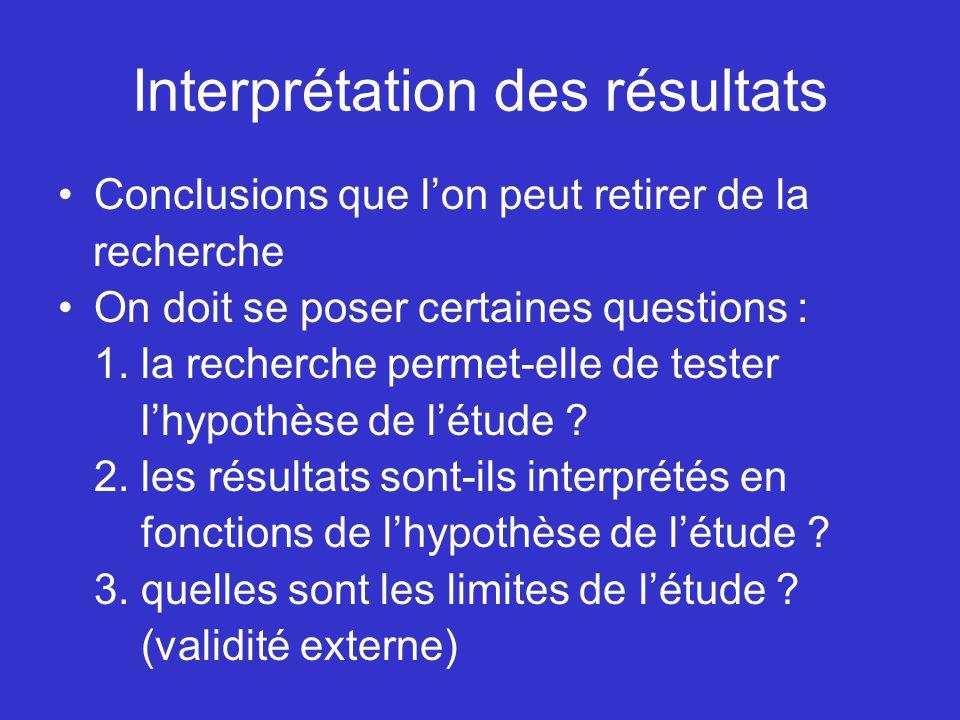 Interprétation des résultats Conclusions que lon peut retirer de la recherche On doit se poser certaines questions : 1. la recherche permet-elle de te