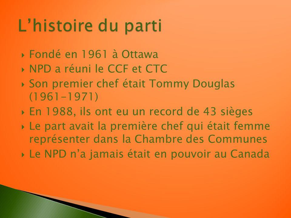 Fondé en 1961 à Ottawa NPD a réuni le CCF et CTC Son premier chef était Tommy Douglas (1961-1971) En 1988, ils ont eu un record de 43 sièges Le part avait la première chef qui était femme représenter dans la Chambre des Communes Le NPD na jamais était en pouvoir au Canada