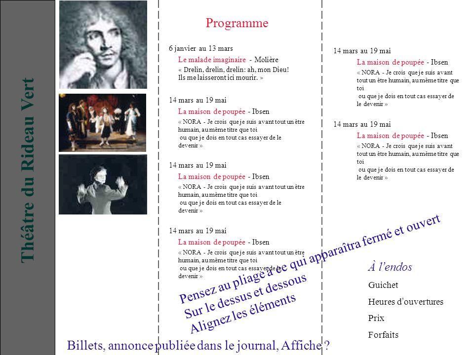 6 janvier au 13 mars Le malade imaginaire - Molière « Drelin, drelin, drelin: ah, mon Dieu.