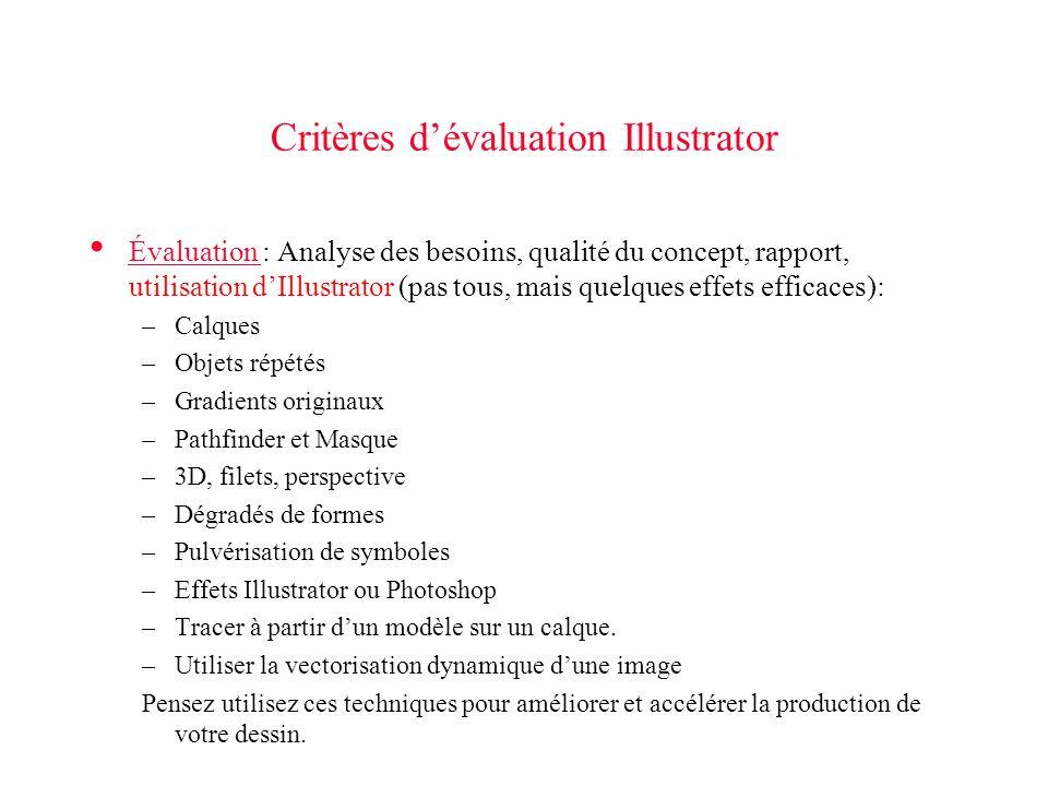 Critères dévaluation Illustrator Évaluation : Analyse des besoins, qualité du concept, rapport, utilisation dIllustrator (pas tous, mais quelques effe