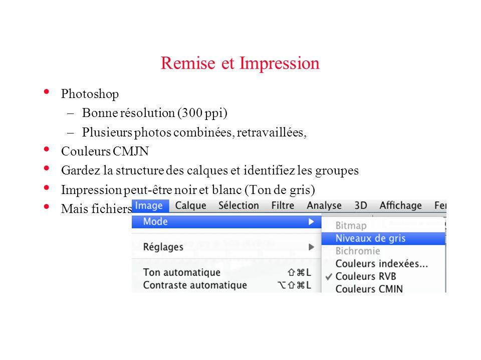 Remise et Impression Photoshop –Bonne résolution (300 ppi) –Plusieurs photos combinées, retravaillées, Couleurs CMJN Gardez la structure des calques et identifiez les groupes Impression peut-être noir et blanc (Ton de gris) Mais fichiers couleurs originaux sont remis en version électronique