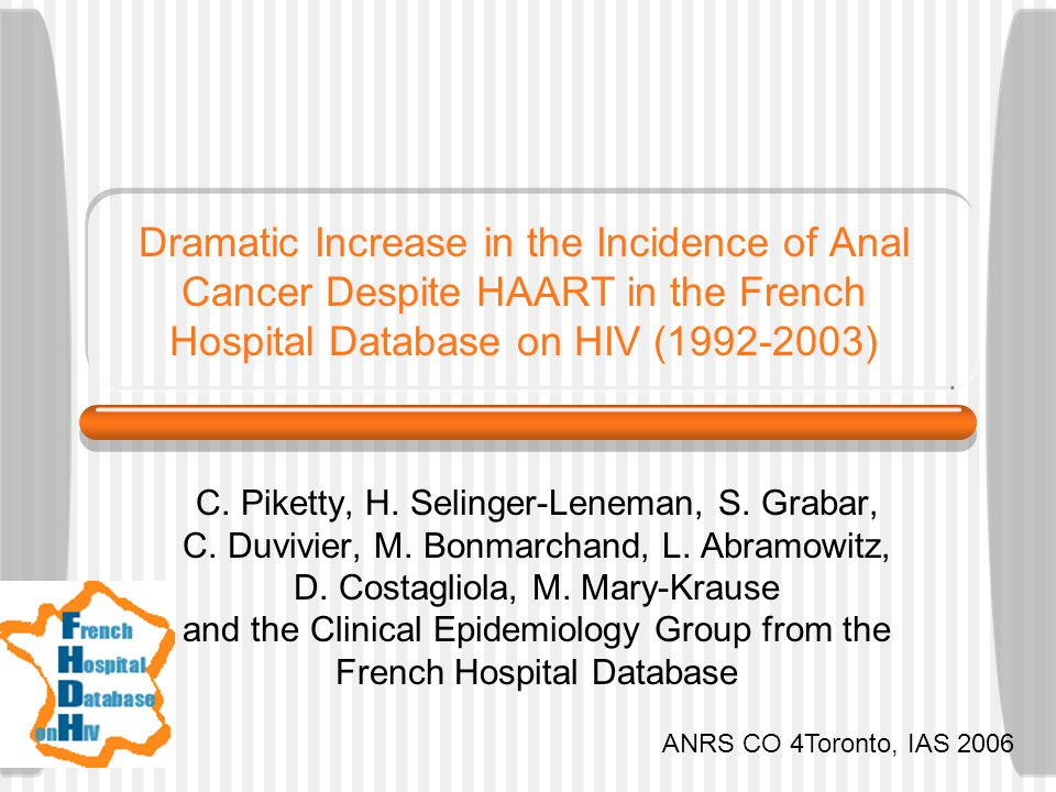 Dramatic Increase in the Incidence of Anal Cancer Despite HAART in the French Hospital Database on HIV (1992-2003) C. Piketty, H. Selinger-Leneman, S.