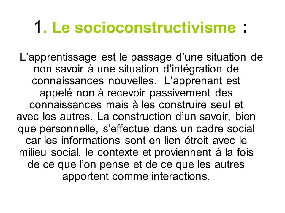 . Le socioconstructivisme : 1 Lapprentissage est le passage dune situation de non savoir à une situation dintégration de connaissances nouvelles. Lapp