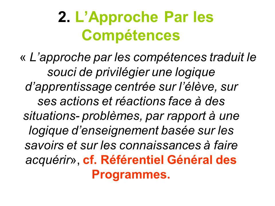 2. LApproche Par les Compétences « Lapproche par les compétences traduit le souci de privilégier une logique dapprentissage centrée sur lélève, sur se