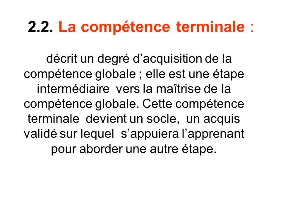2.2. La compétence terminale : décrit un degré dacquisition de la compétence globale ; elle est une étape intermédiaire vers la maîtrise de la compéte