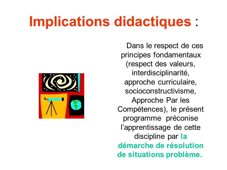 Implications didactiques : Dans le respect de ces principes fondamentaux (respect des valeurs, interdisciplinarité, approche curriculaire, socioconstr
