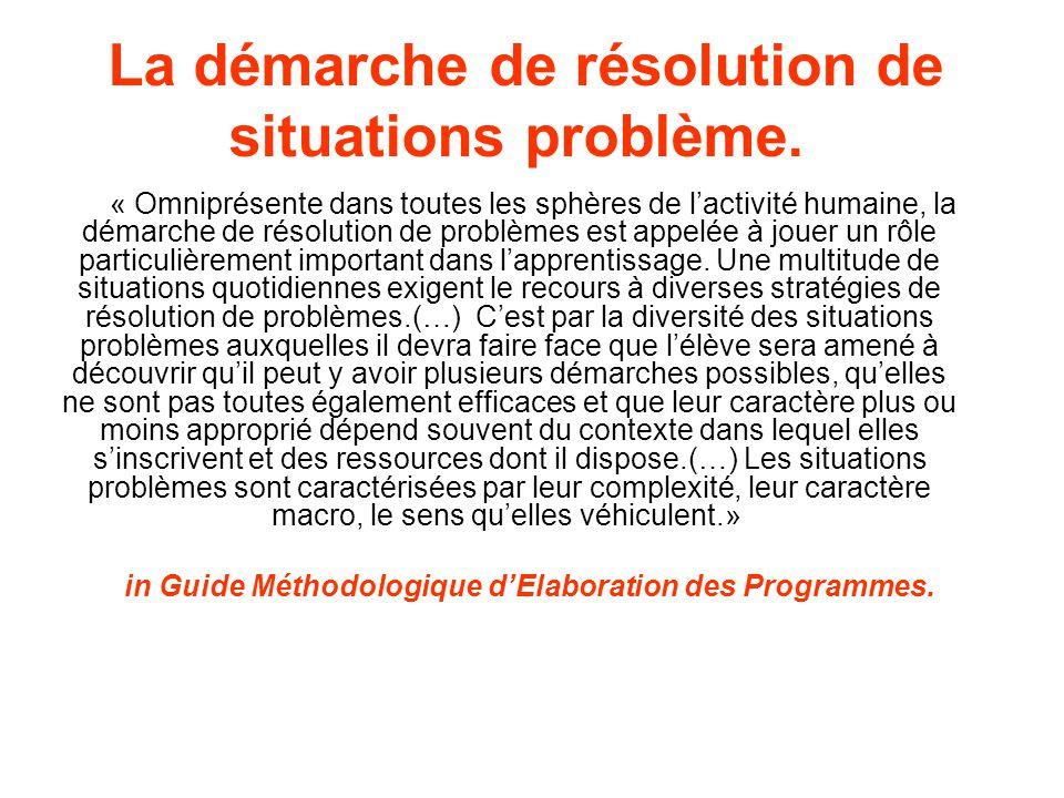 La démarche de résolution de situations problème. « Omniprésente dans toutes les sphères de lactivité humaine, la démarche de résolution de problèmes