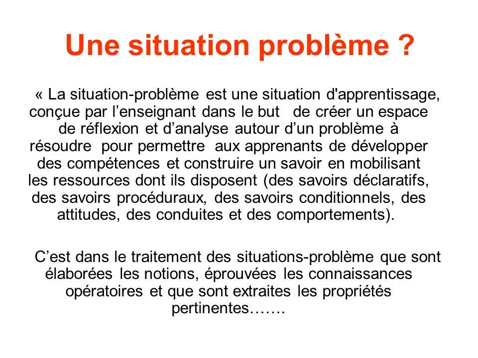 Une situation problème ? « La situation-problème est une situation d'apprentissage, conçue par lenseignant dans le but de créer un espace de réflexion
