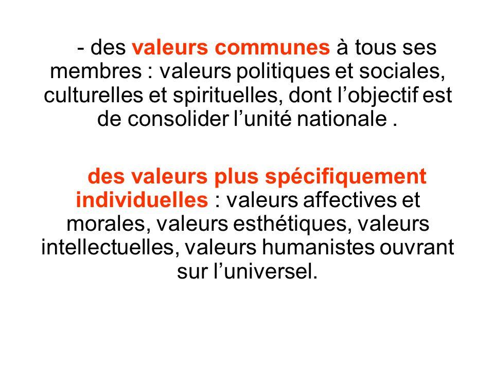- des valeurs communes à tous ses membres : valeurs politiques et sociales, culturelles et spirituelles, dont lobjectif est de consolider lunité natio