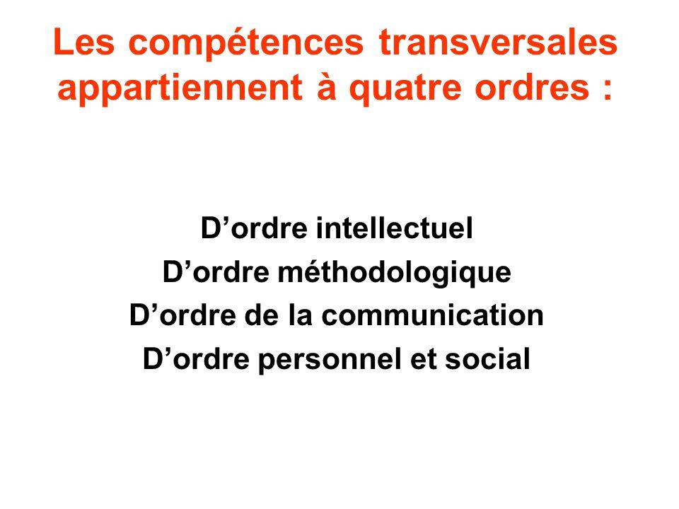 Les compétences transversales appartiennent à quatre ordres : Dordre intellectuel Dordre méthodologique Dordre de la communication Dordre personnel et