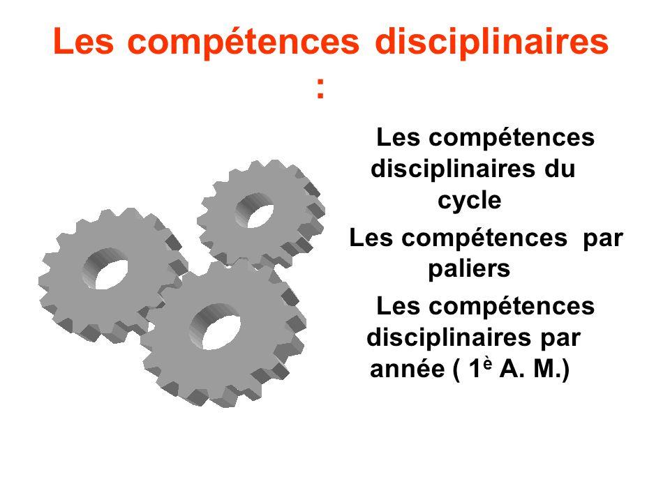 Les compétences disciplinaires : Les compétences disciplinaires du cycle Les compétences par paliers Les compétences disciplinaires par année ( 1 è A.