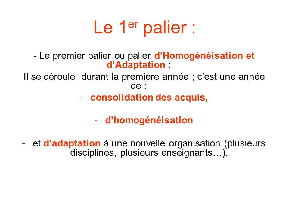 Le 1 er palier : - Le premier palier ou palier dHomogénéisation et dAdaptation : Il se déroule durant la première année ; cest une année de : -consoli