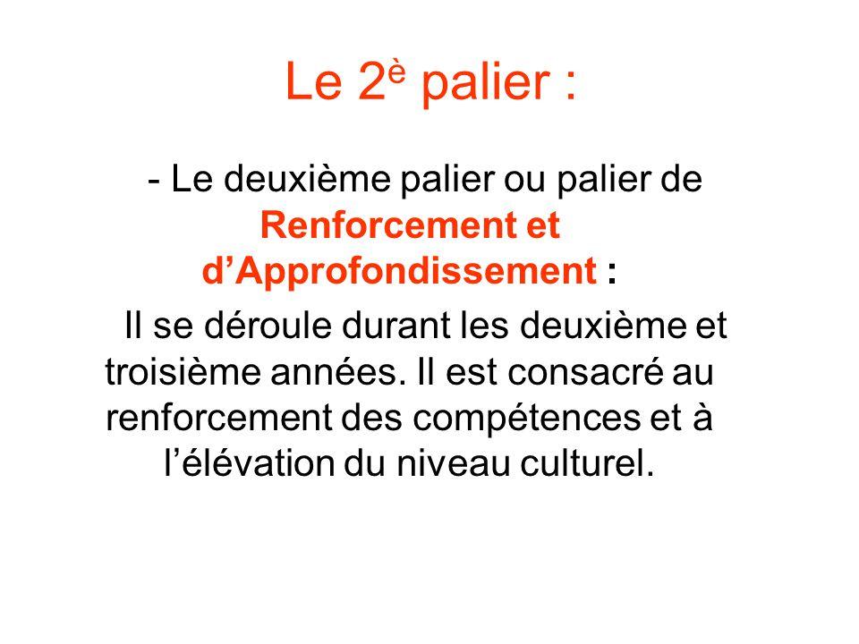 Le 2 è palier : - Le deuxième palier ou palier de Renforcement et dApprofondissement : Il se déroule durant les deuxième et troisième années. Il est c
