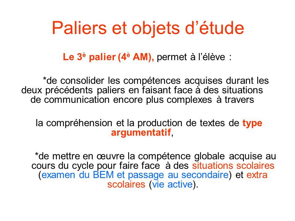 Paliers et objets détude Le 3 è palier (4 è AM), permet à lélève : *de consolider les compétences acquises durant les deux précédents paliers en faisa