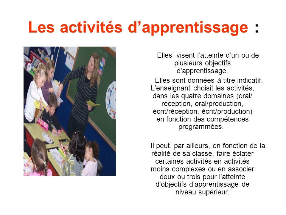 Les activités dapprentissage : Elles visent latteinte dun ou de plusieurs objectifs dapprentissage. Elles sont données à titre indicatif. Lenseignant