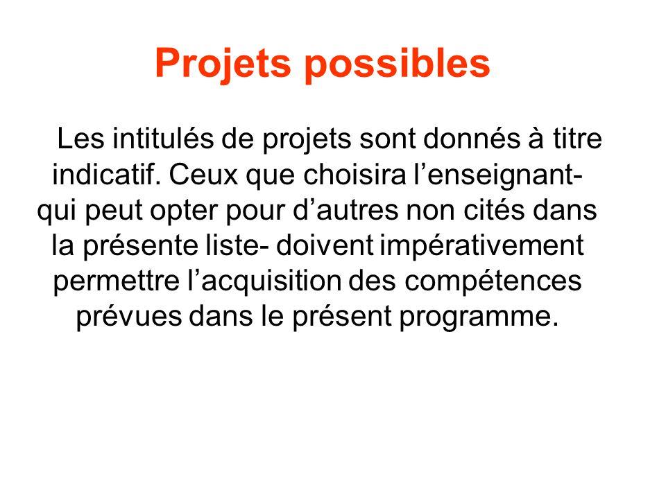 Projets possibles Les intitulés de projets sont donnés à titre indicatif. Ceux que choisira lenseignant- qui peut opter pour dautres non cités dans la