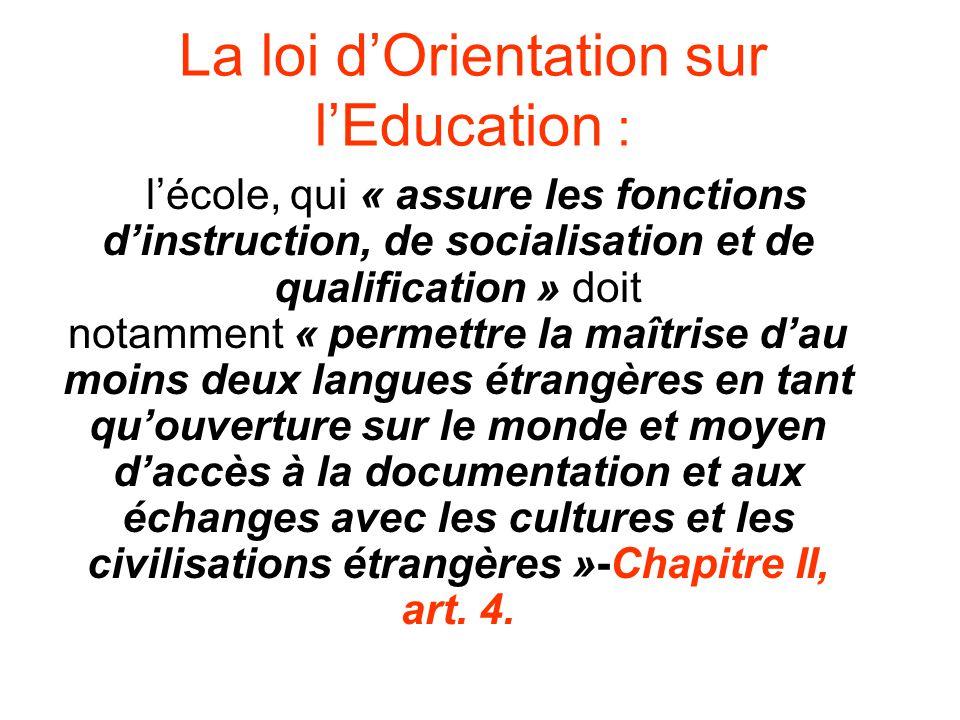 La loi dOrientation sur lEducation : lécole, qui « assure les fonctions dinstruction, de socialisation et de qualification » doit notamment « permettr
