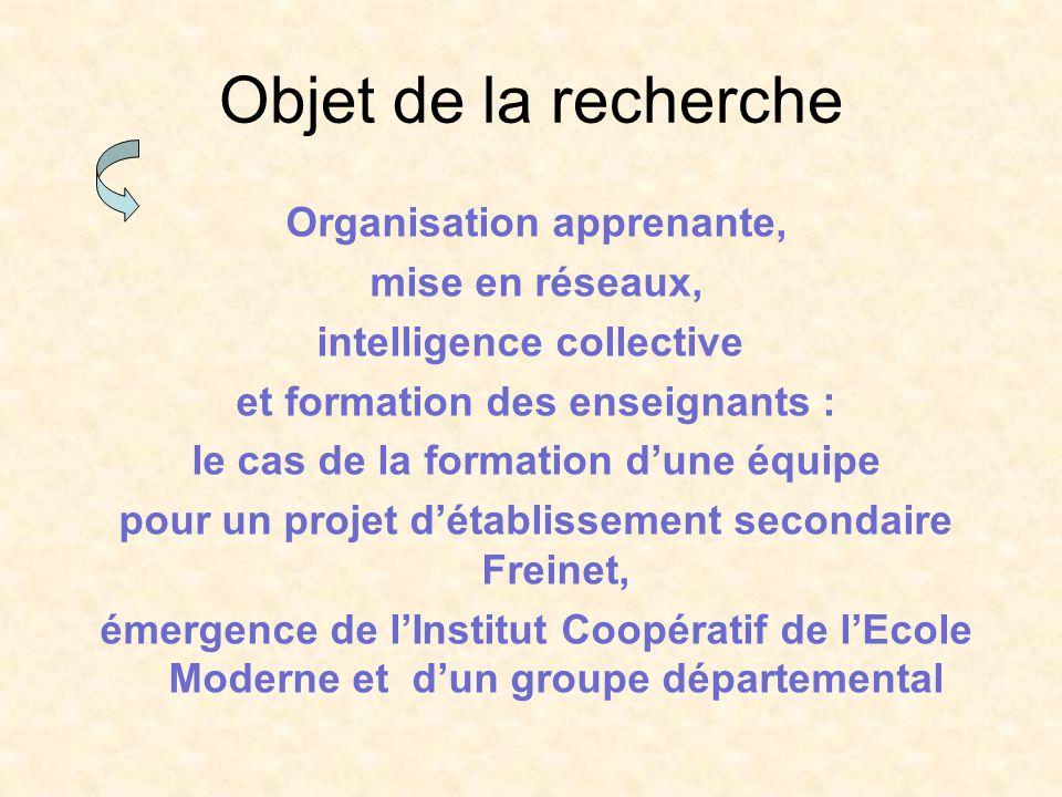 Objet de la recherche Organisation apprenante, mise en réseaux, intelligence collective et formation des enseignants : le cas de la formation dune équ
