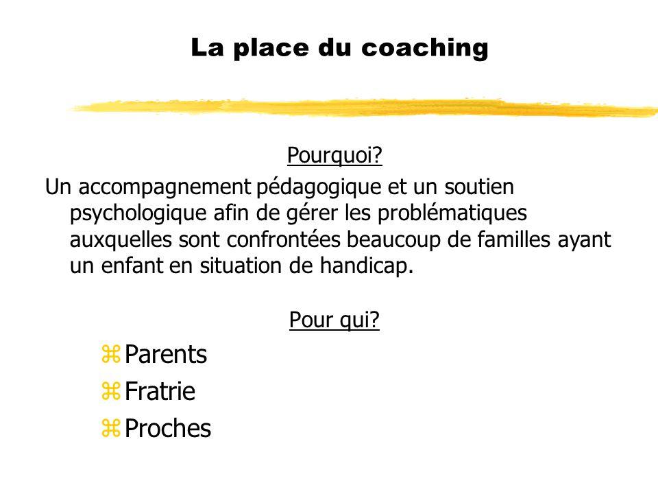 La place du coaching Pour qui? zParents zFratrie zProches Pourquoi? Un accompagnement pédagogique et un soutien psychologique afin de gérer les problé