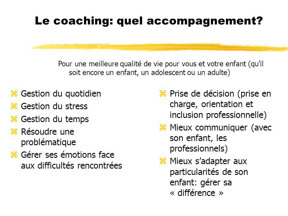 Le coaching: quel accompagnement? zGestion du quotidien zGestion du stress zGestion du temps zRésoudre une problématique zGérer ses émotions face aux