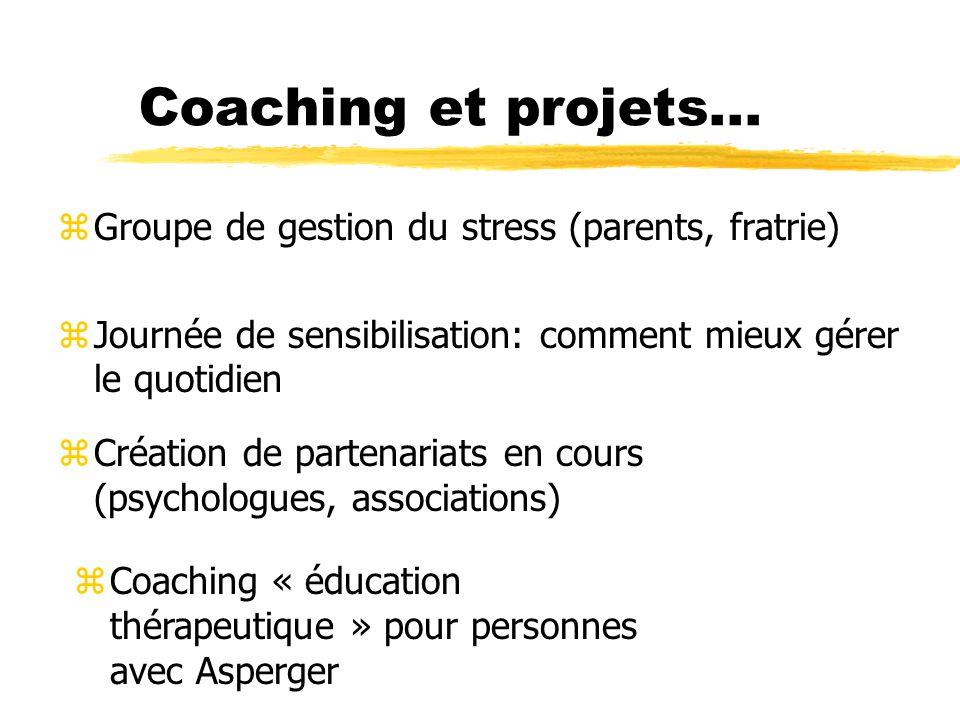 Coaching et projets... zGroupe de gestion du stress (parents, fratrie) zJournée de sensibilisation: comment mieux gérer le quotidien z Création de par