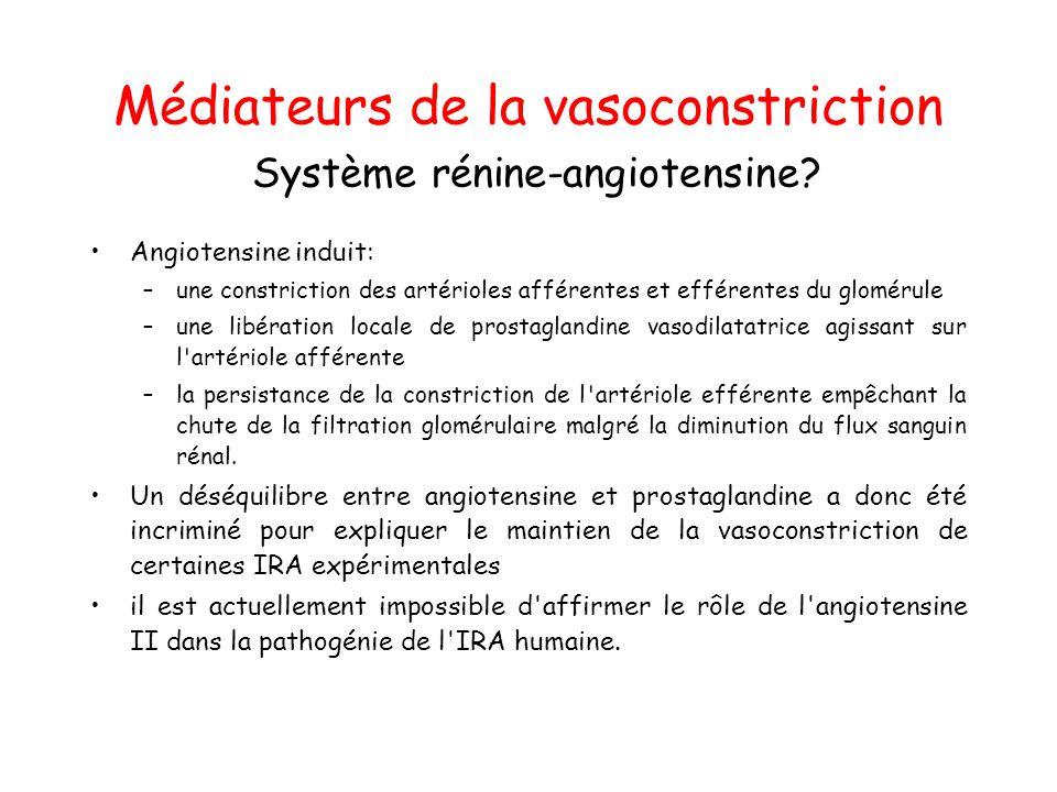 Médiateurs de la vasoconstriction Système rénine-angiotensine.