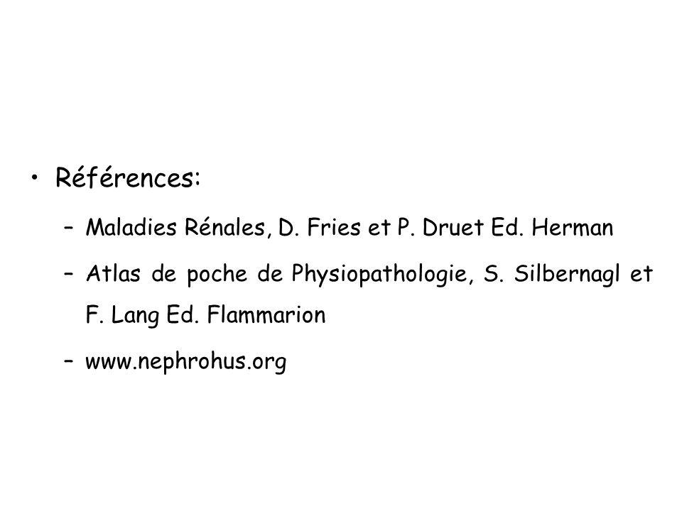 Références: –Maladies Rénales, D.Fries et P. Druet Ed.