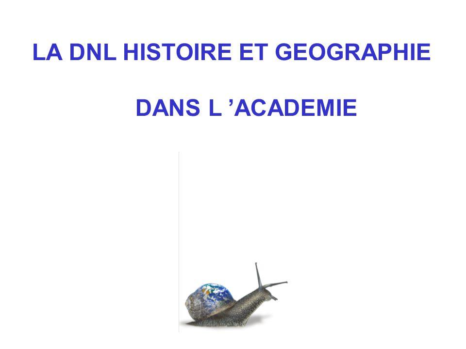 LA DNL HISTOIRE ET GEOGRAPHIE DANS L ACADEMIE