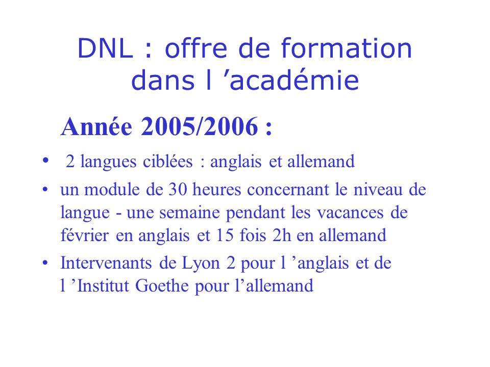 DNL : offre de formation dans l académie Année 2005/2006 : 2 langues ciblées : anglais et allemand un module de 30 heures concernant le niveau de lang