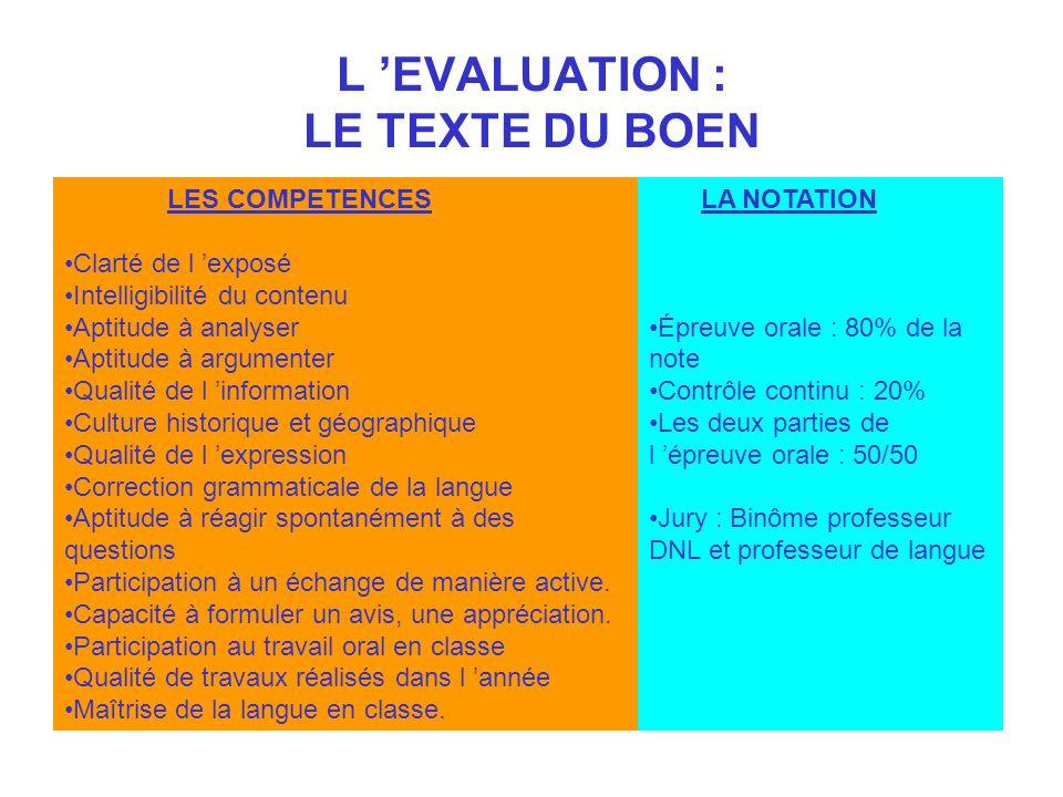 L EVALUATION : LE TEXTE DU BOEN LES COMPETENCES Clarté de l exposé Intelligibilité du contenu Aptitude à analyser Aptitude à argumenter Qualité de l i