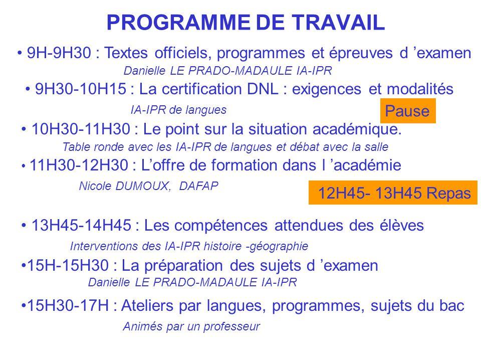 PROGRAMME DE TRAVAIL 9H-9H30 : Textes officiels, programmes et épreuves d examen Danielle LE PRADO-MADAULE IA-IPR 10H30-11H30 : Le point sur la situat