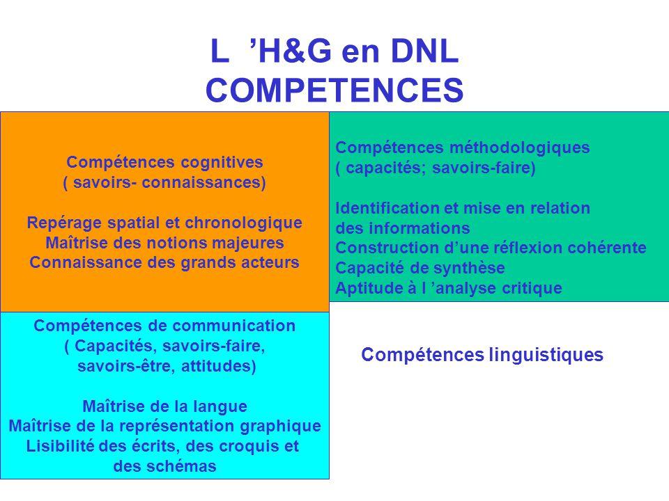 L H&G en DNL COMPETENCES Compétences cognitives ( savoirs- connaissances) Repérage spatial et chronologique Maîtrise des notions majeures Connaissance