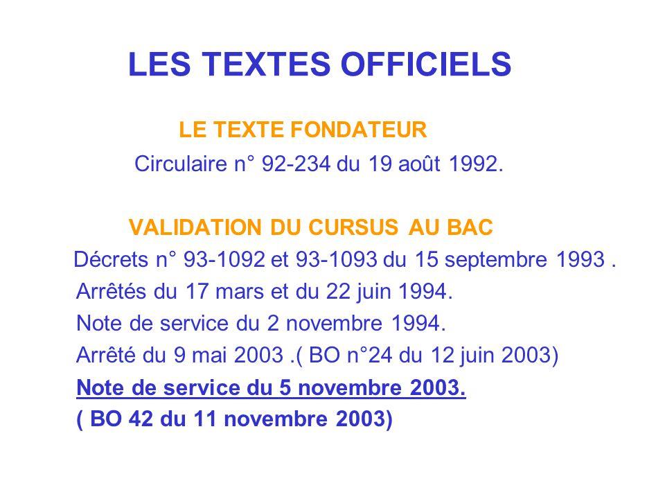 LES TEXTES OFFICIELS LE TEXTE FONDATEUR Circulaire n° 92-234 du 19 août 1992. VALIDATION DU CURSUS AU BAC Décrets n° 93-1092 et 93-1093 du 15 septembr