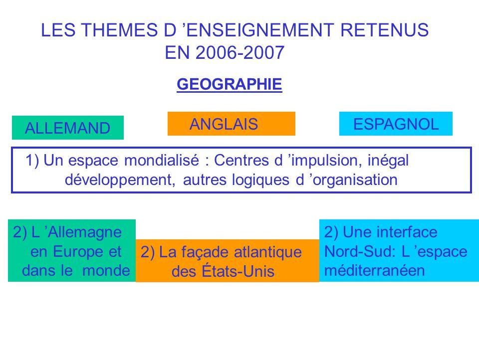 LES THEMES D ENSEIGNEMENT RETENUS EN 2006-2007 GEOGRAPHIE ALLEMAND ANGLAIS ESPAGNOL 1) Un espace mondialisé : Centres d impulsion, inégal développemen
