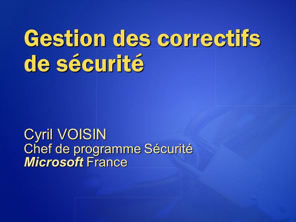 Installation de correctifs en mode batch Il est possible de scripter linstallation des correctifs @echo off setlocal set PATHTOFIXES=some path %PATHTOFIXES%\Q123456_w2k_sp2_x86.exe -z -m %PATHTOFIXES%\Q123321_w2k_sp2_x86.exe -z -m %PATHTOFIXES%\Q123789_w2k_sp2_x86.exe -z -m %PATHTOFIXES%\qchain.exe journal.log shutdown.exe –t 15 -f QChain se trouve à cette adresse : http://www.microsoft.com/downloads/details.aspx?displaylang=en& FamilyID=A85C9CFA-E84C-4723-9C28-F66859060F5D http://www.microsoft.com/downloads/details.aspx?displaylang=en& FamilyID=A85C9CFA-E84C-4723-9C28-F66859060F5D http://www.microsoft.com/downloads/details.aspx?displaylang=en& FamilyID=A85C9CFA-E84C-4723-9C28-F66859060F5D
