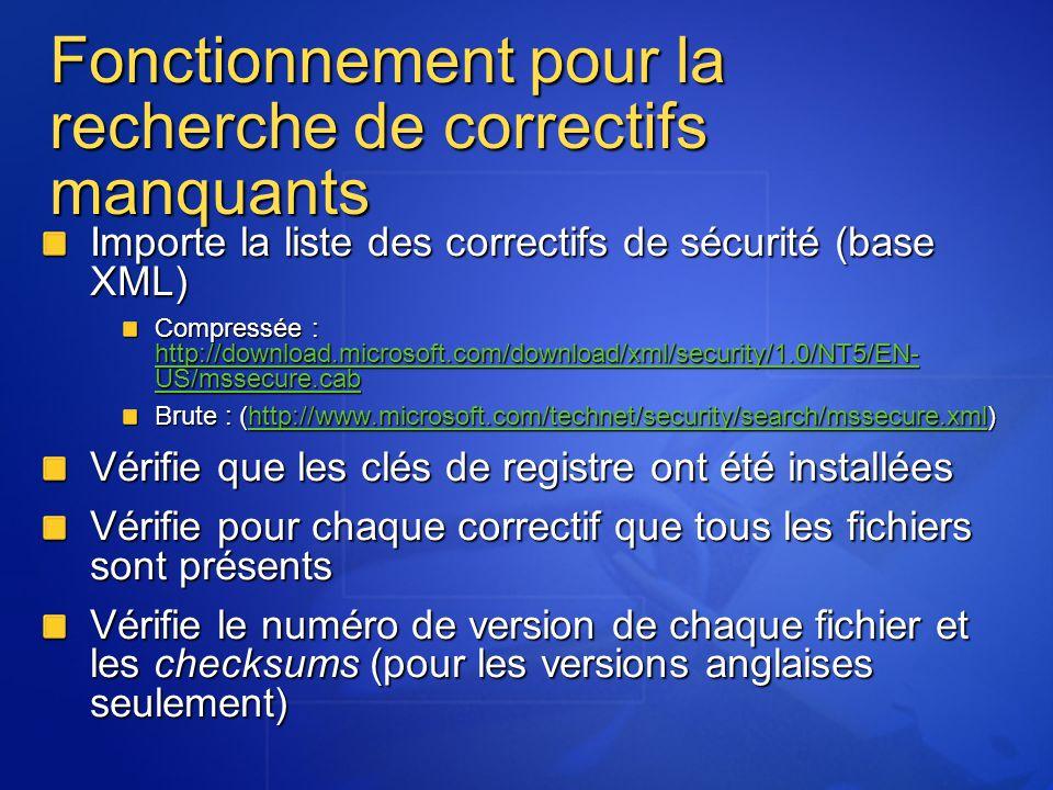 Fonctionnement pour la recherche de correctifs manquants Importe la liste des correctifs de sécurité (base XML) Compressée : http://download.microsoft