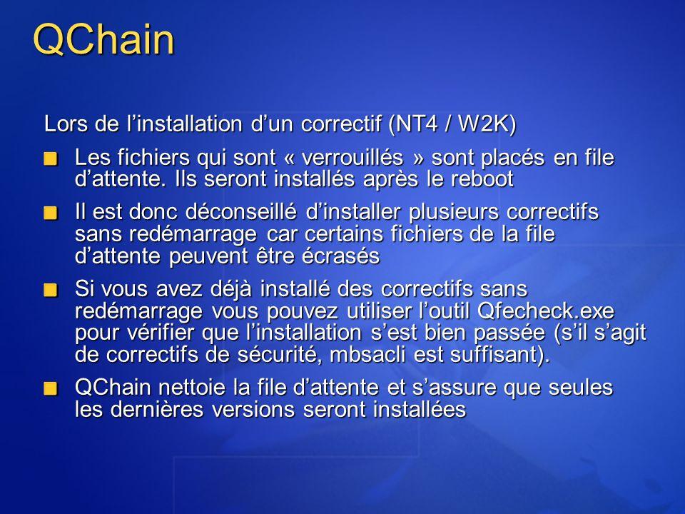 QChain Lors de linstallation dun correctif (NT4 / W2K) Les fichiers qui sont « verrouillés » sont placés en file dattente. Ils seront installés après