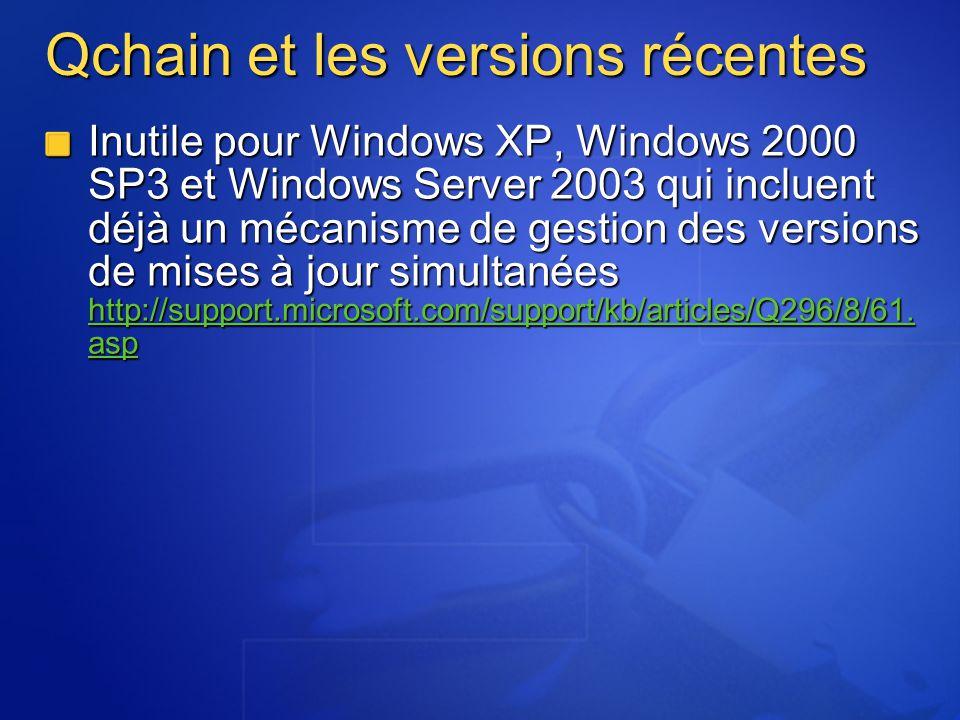 Qchain et les versions récentes Inutile pour Windows XP, Windows 2000 SP3 et Windows Server 2003 qui incluent déjà un mécanisme de gestion des version